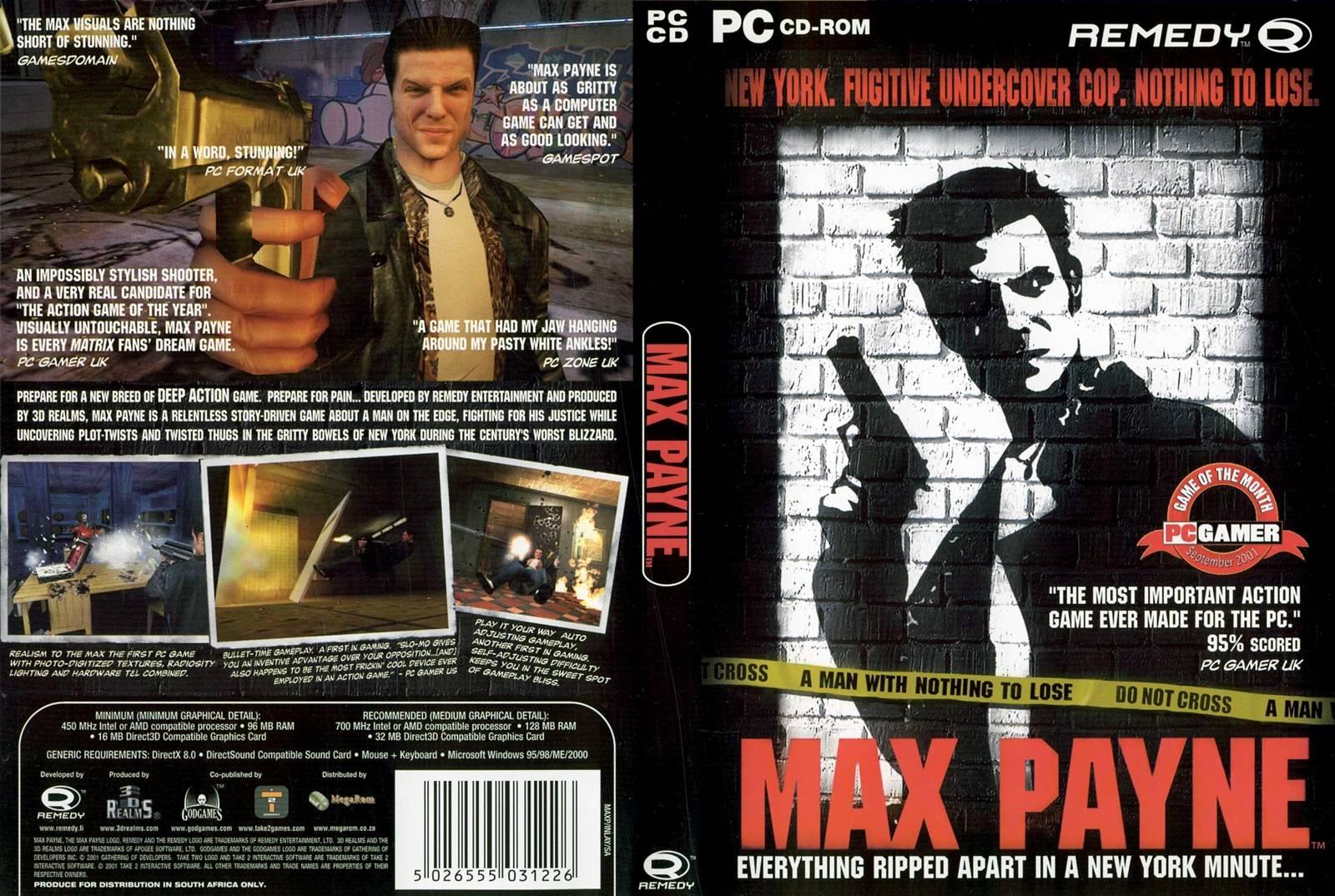 Jogo Max Payne Dublado PC DVD Capa