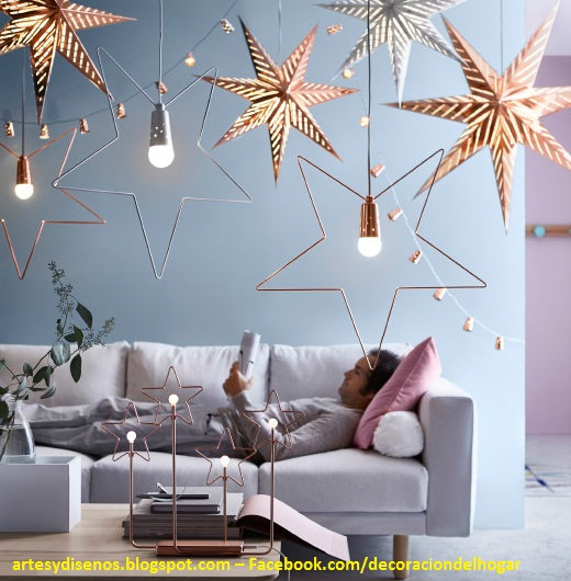 AMBIENTES CON LUCES DE ESTRELLAS NAVIDE�AS by artesydisenos.blogspot.com