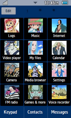 Samsung GT-C6712 One Piece Anime Theme 3 Free Download Menu