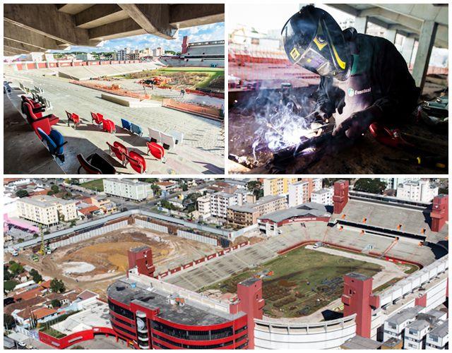 Situação das obras da Arena da Baixada em julho de 2012