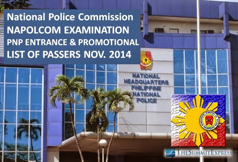 NAPOLCOM Exam Results November 2014 List of Passers release online