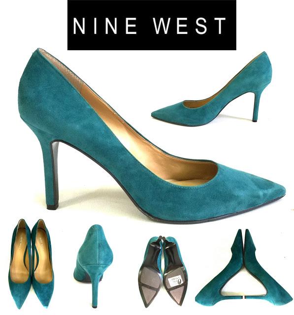 Pantofi turcoaz din piele intoarsa NINE WEST