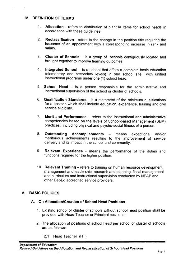 Deped memos orders results reclassification of school heads and reclassification of school heads and principal positions spiritdancerdesigns Images