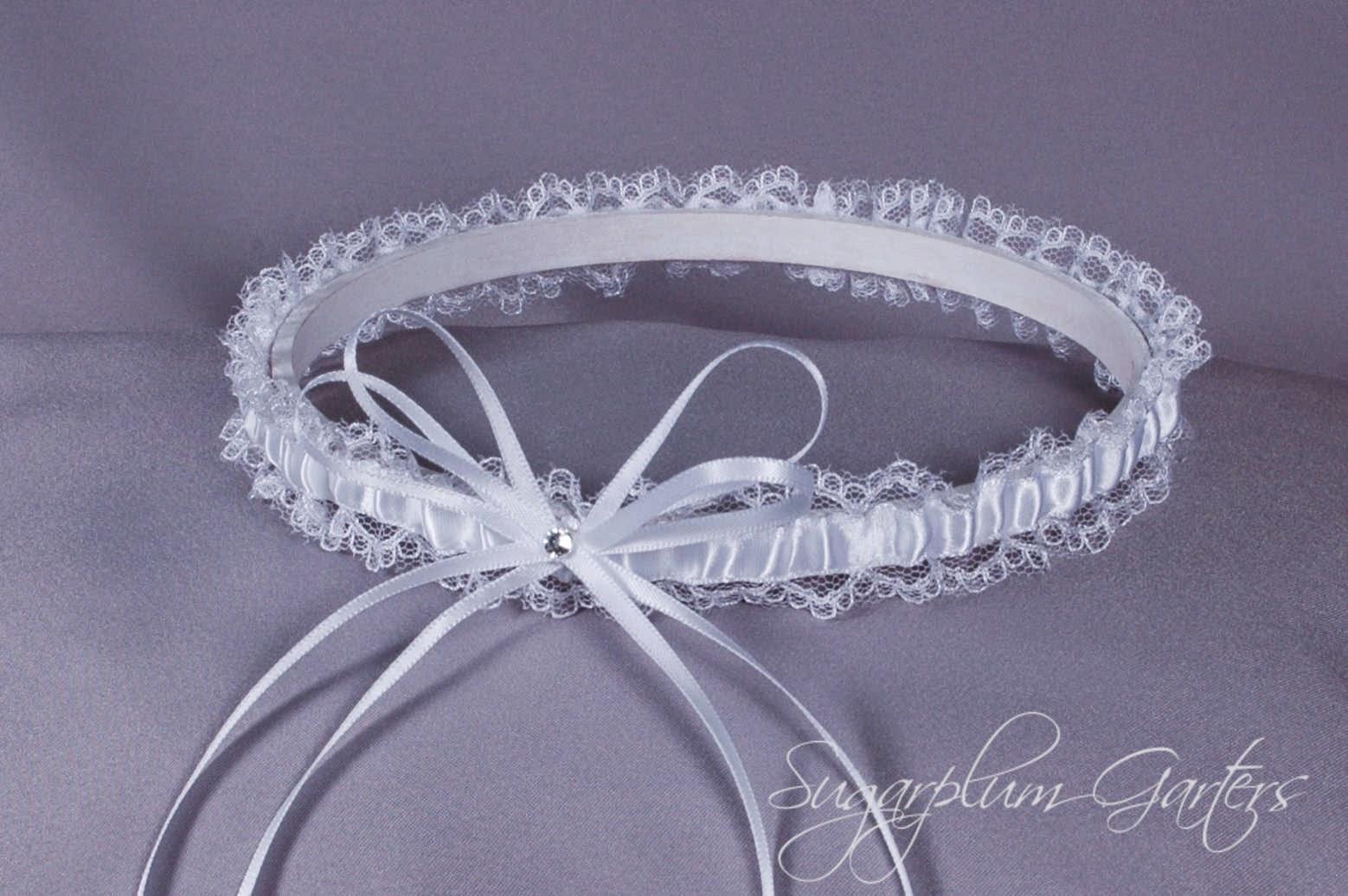 Wedding Garter in White Satin and Lace by Sugarplum Garters