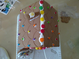 decorated gingerbread house, Christmas crafts, crafts for children, Christmas crafts for children, candy house
