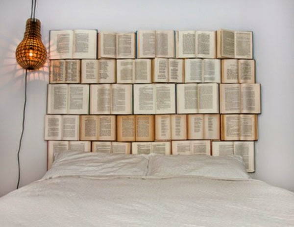 making DIY bed headboard using opened books to add inspiration to your  bedroom