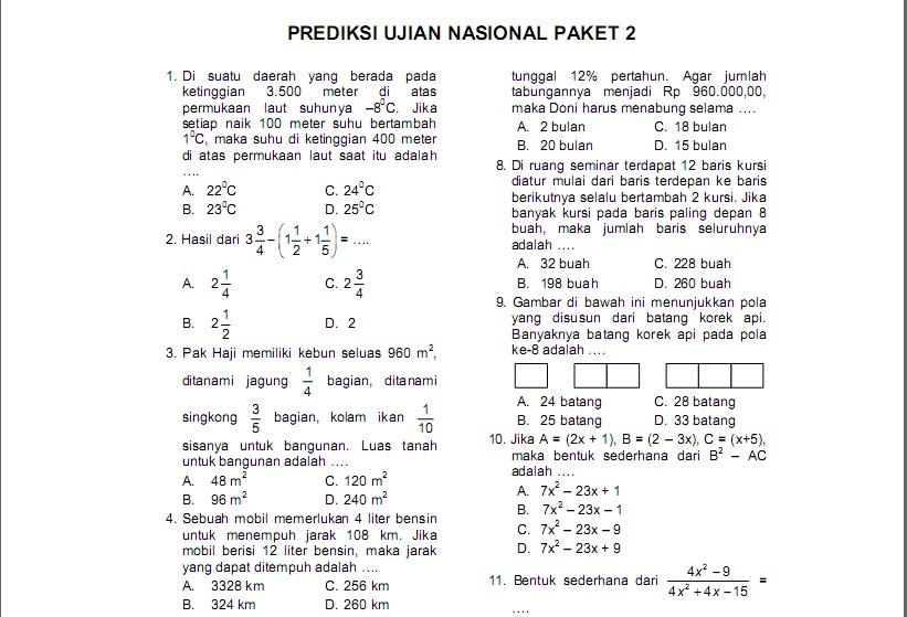 Kumpulan Soal Matematika Un Smp Prediksi Ujian Nasional Paket 1