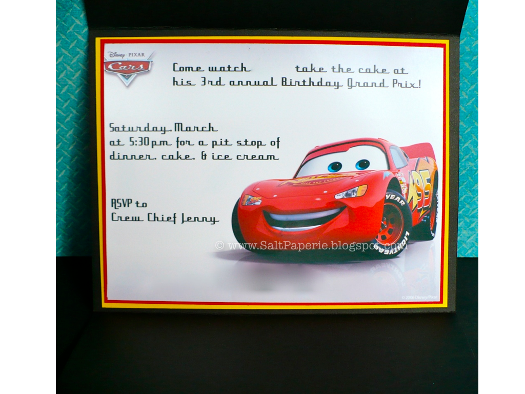 cars birthday invitation salt paperie i edited out some information on the invite but you get the gist the logo and lightning mcqueen are one large clip art for invites i found online and then