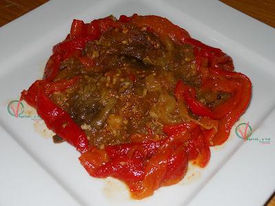 Ensalada marroquí de berenjena y pimiento.