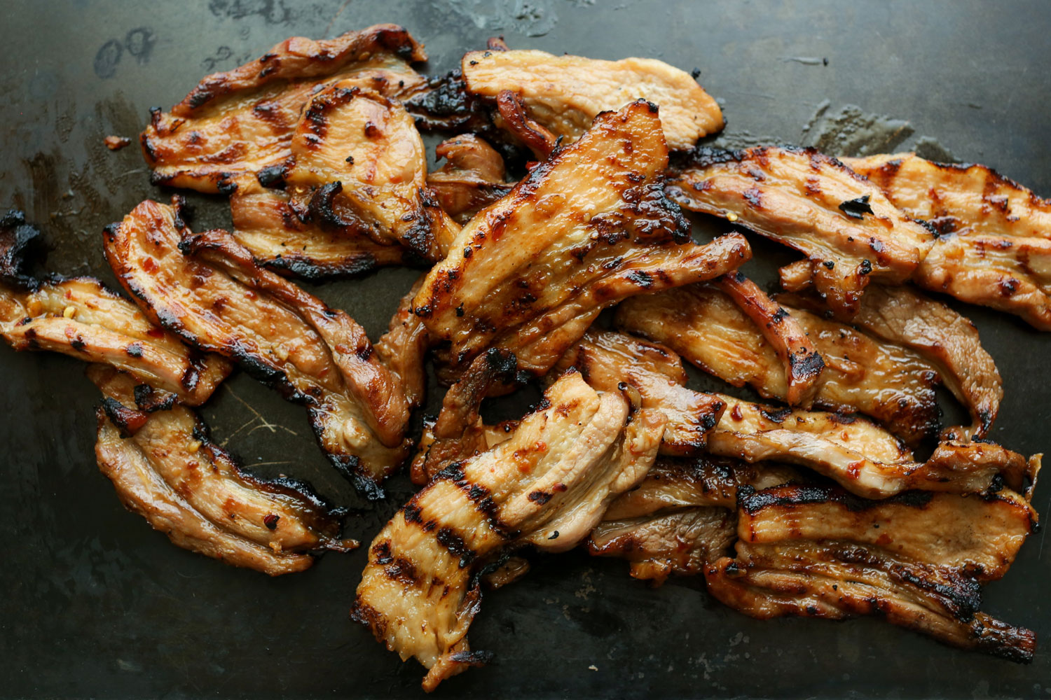 How To Grill Pork Belly {Sweet and Spicy Marinated Pork Belly Strips} recipe by Barefeet In The Kitchen
