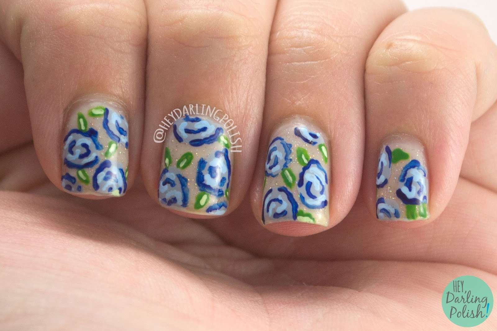 31dc2014, nails, nail art, nail polish, roses, flowers, rose nail art, hey darling polish, 31 day challenge,