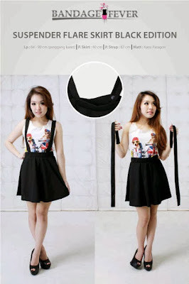 Suspender Flare Skirt Black Edition