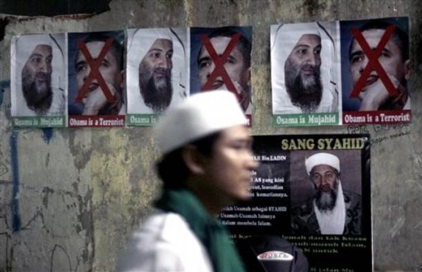 obama on new bin laden tape. posters of Osama Bin laden
