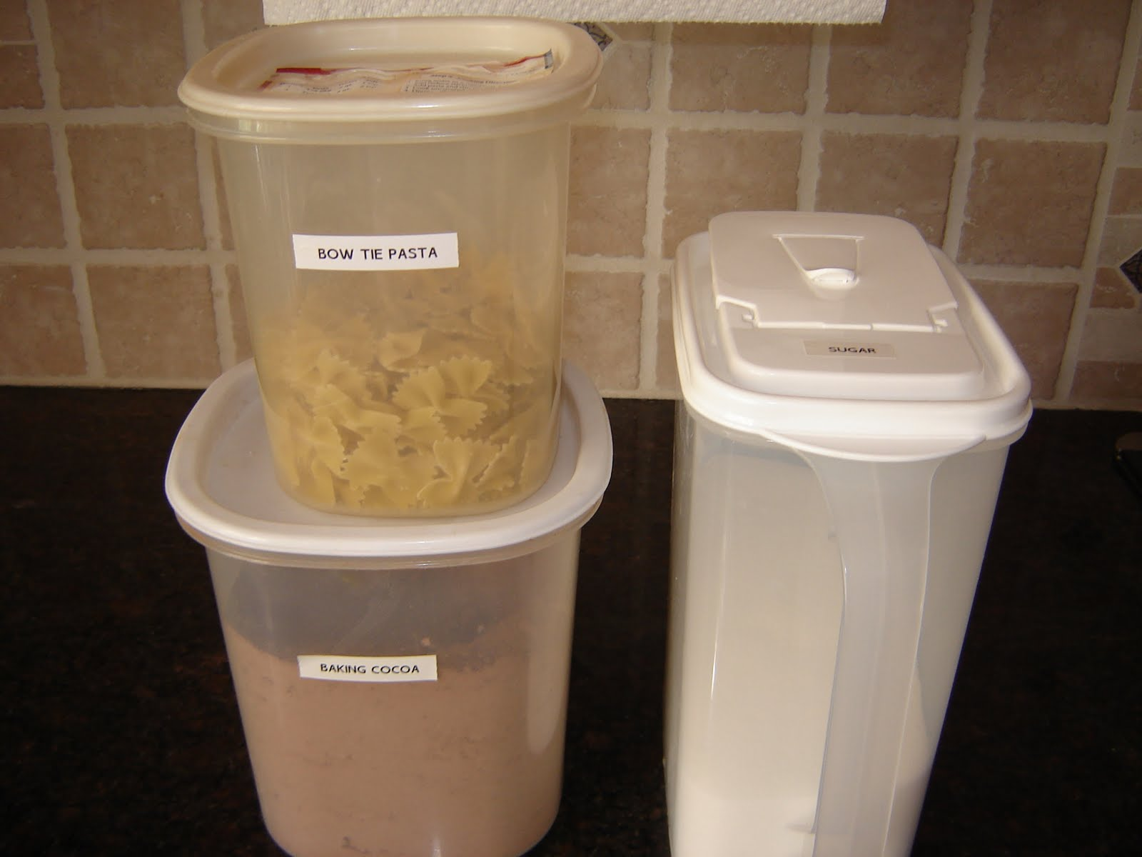 Prepared LDS Family Food Storage Tip Containers for Dry Ingredients