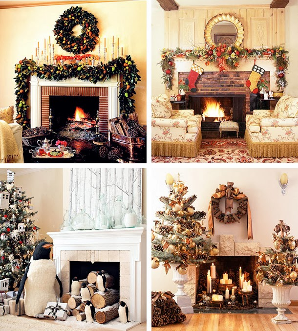 Mantel christmas decorating ideas for How to decorate a fireplace for christmas
