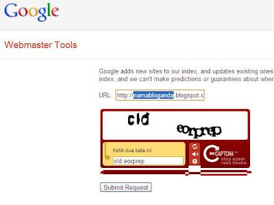 halaman add url google webmaster