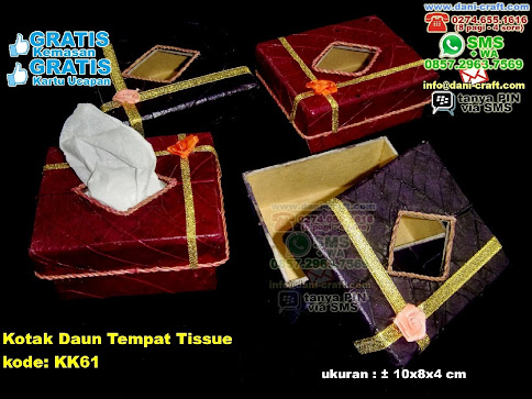 Kotak Daun Tempat Tissue Karton Daun Coklat