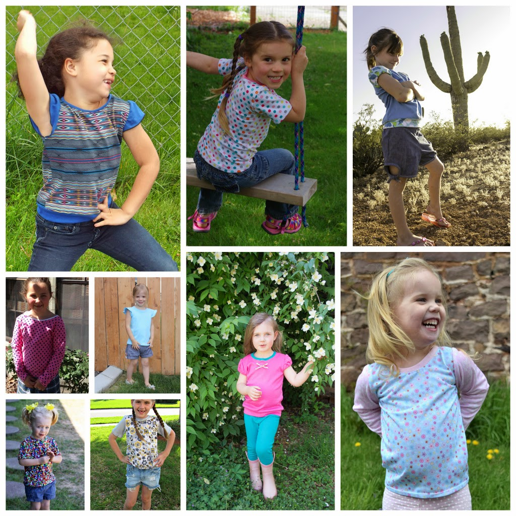 Girl's Tinley Tee Pattern by GYCT Designs, sizes 12month to 12yrs