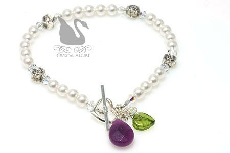 Secret Garden Swarovski Pearl Charm Bracelet (B175)