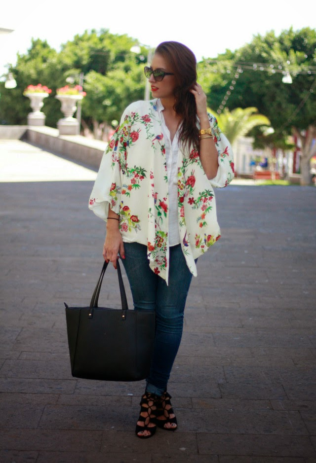 Wearing a Summer Floral Kimono Cardigan