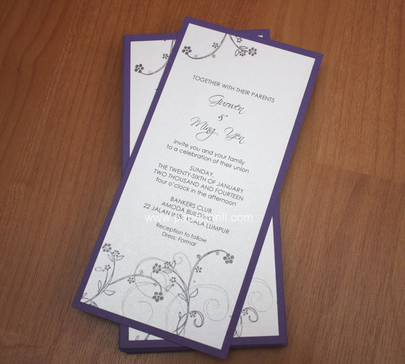 Purple lavender handmade cherry blossom wedding invitation card