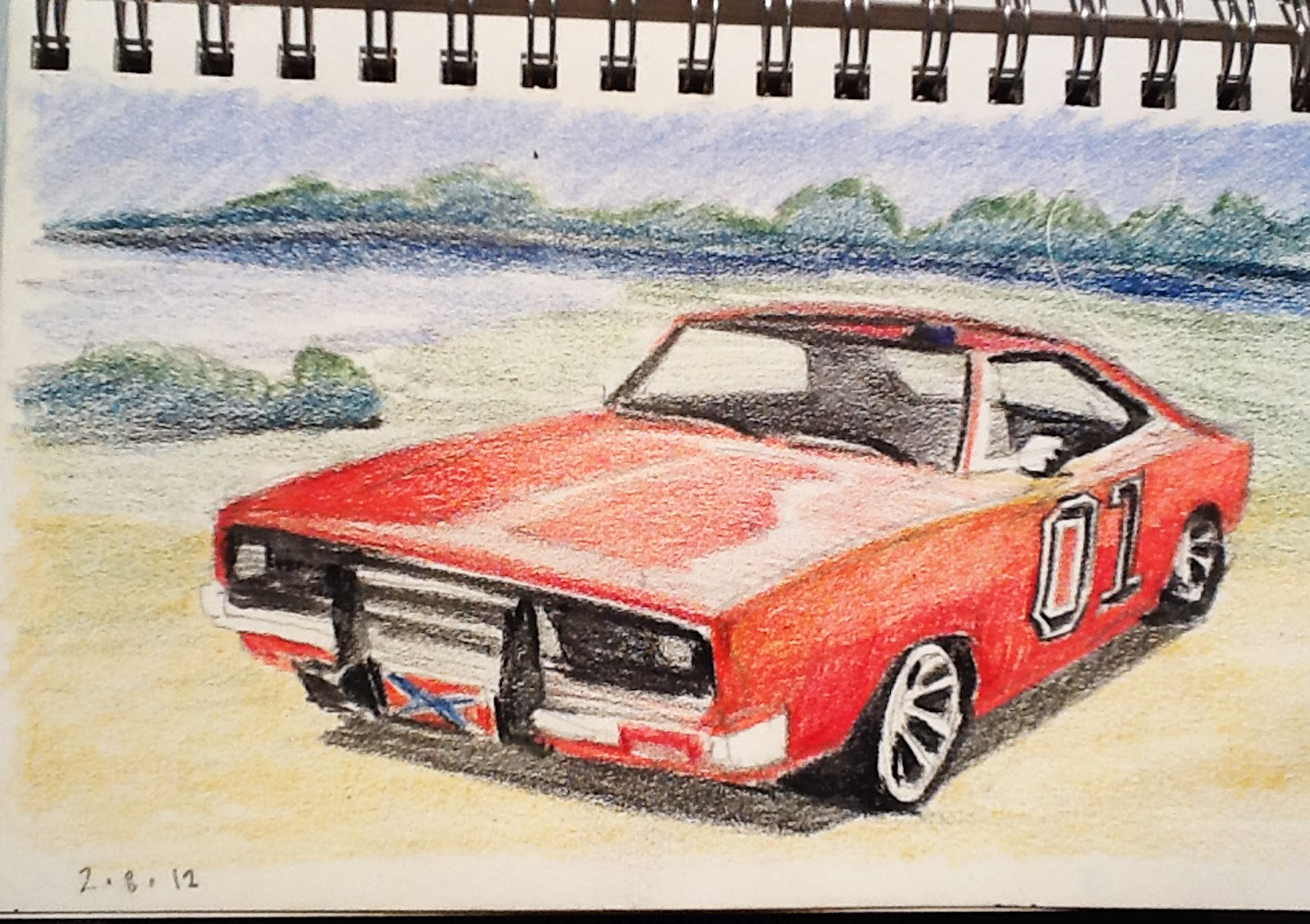day 167 drawing the general lee and cooter 39 s museum. Black Bedroom Furniture Sets. Home Design Ideas