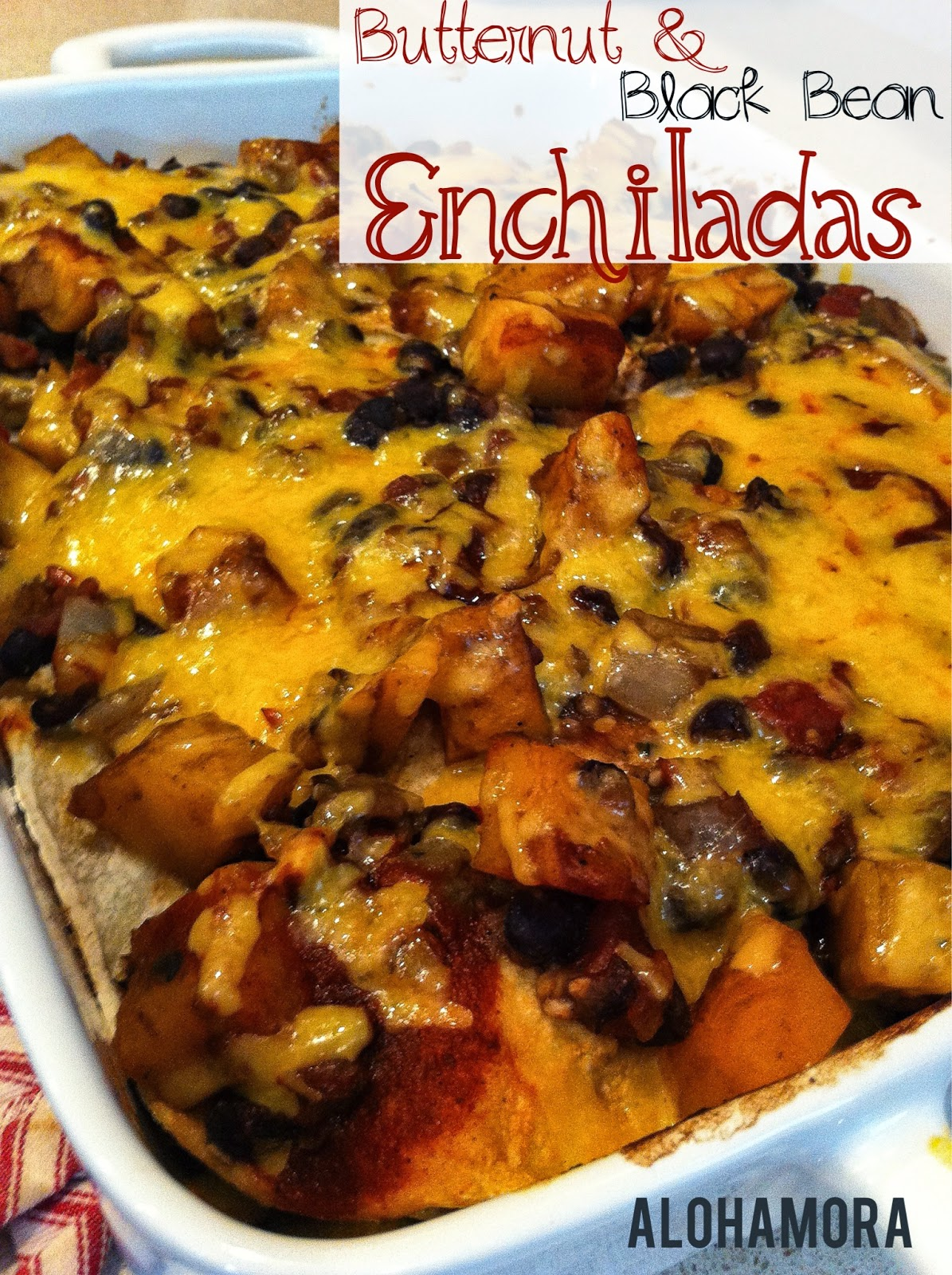 Healthy Butternut Squash and Black Bean Enchilada Casserole.  It's delicious, flavorful, healthy, gluten free, and vegetarian. Alohamora Open a Book http://www.alohamoraopenabook.blogspot.com/