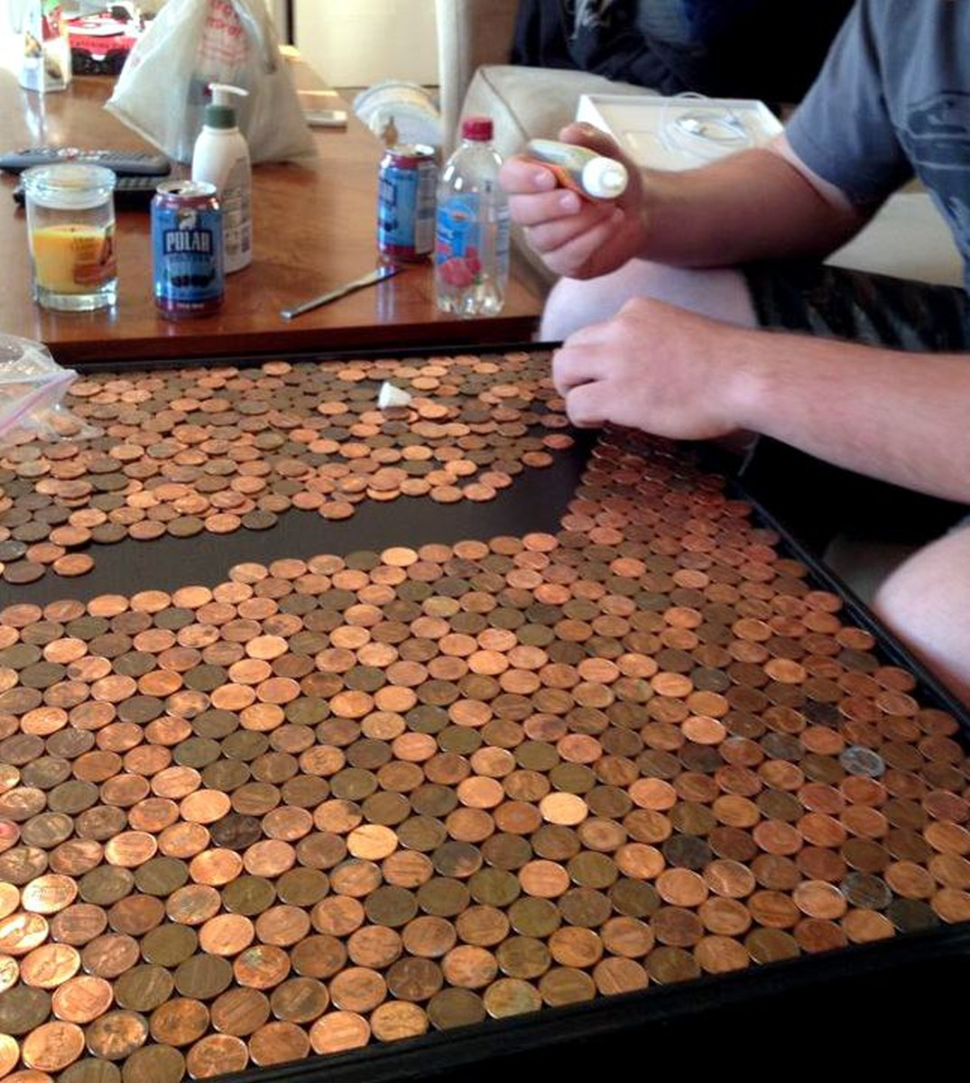 We Glued Some Pennies With Super Glue And Some With Gorilla Glue. If I Were  To Do It All Over Again, I Would NOT Use Gorilla Glue.
