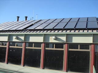 Solar thermal panels on Fenway Park, home of the Boston Red Sox