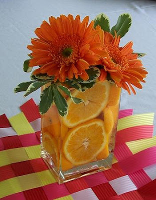 orange gerbera daisy centerpiece
