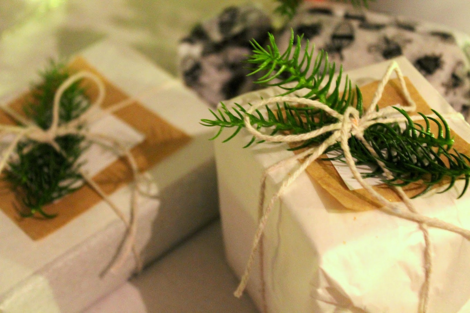christmas tree and snow inspired gift wrapping for christmas