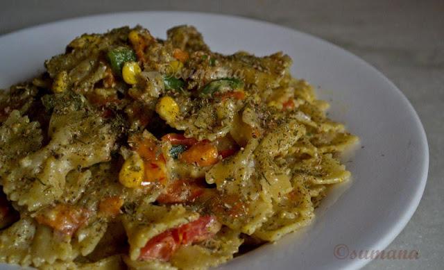 pasta, veg, Pasta with mustard sauce