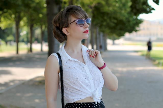 50s style white tie blouse and polka dot capris
