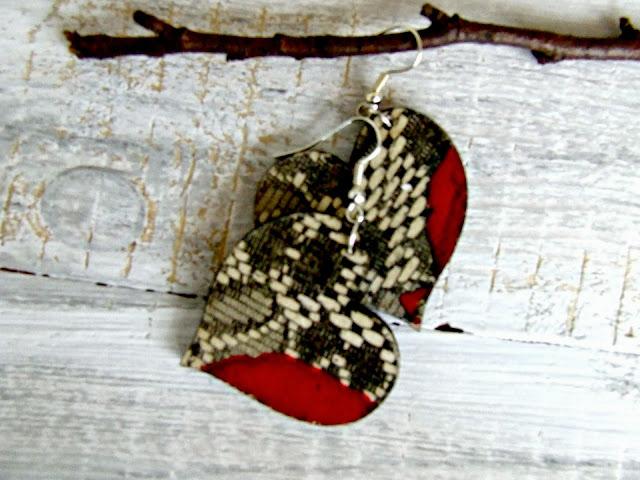 kolczyki serca decoupage biżuteria hand made