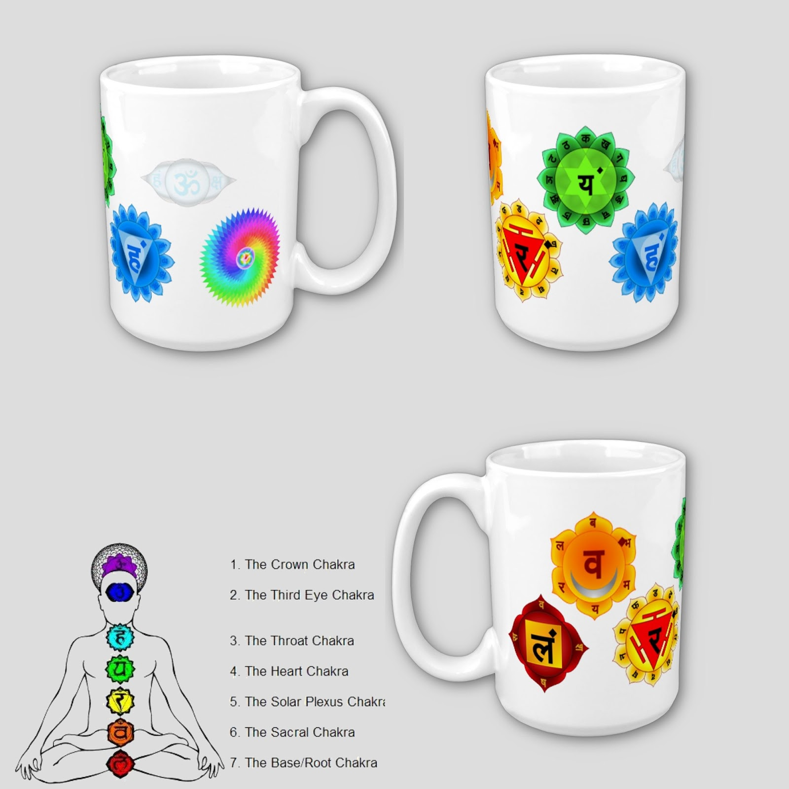 Yoga reiki seven chakra symbols art chart poster yoga reiki white glass coffee mug with all main yoga reiki seven chakra symbols printed on in full detail in the visible light spectrum order using the representing biocorpaavc