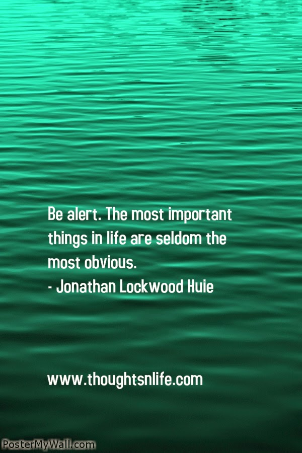 Thoughtsnlife.com : Be alert. The most important things in life are seldom the most obvious. - Jonathan Lockwood Huie