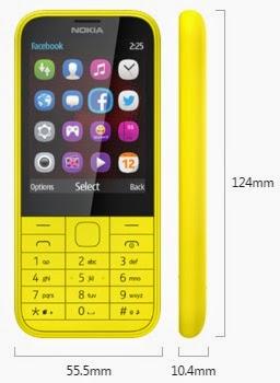Dimensi Nokia 225 Dual SIM