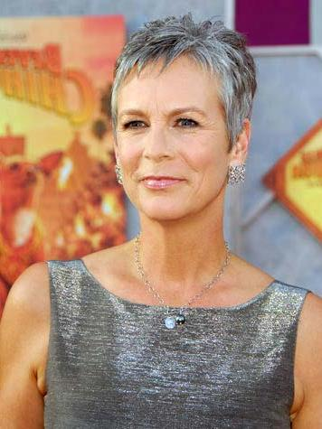 Jamie Curtis gray pixie hairstyle