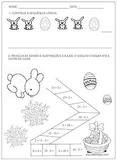 Atividades sobre Páscoa - símbolos, sequência lógica, correção ortográfica, contas ...