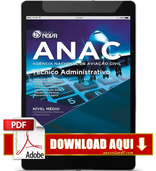 Apostila ANAC 2015 PDF Download Técnico Administrativo