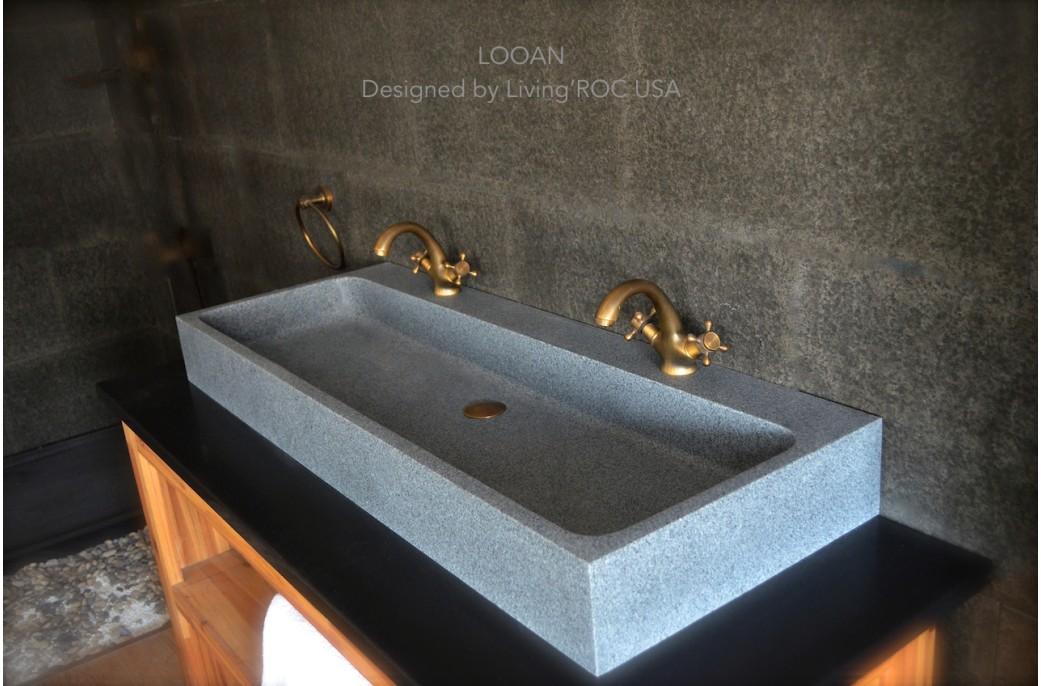 47u0027 Double Trough Gray Granite Stone Bathroom Sink   LOOAN