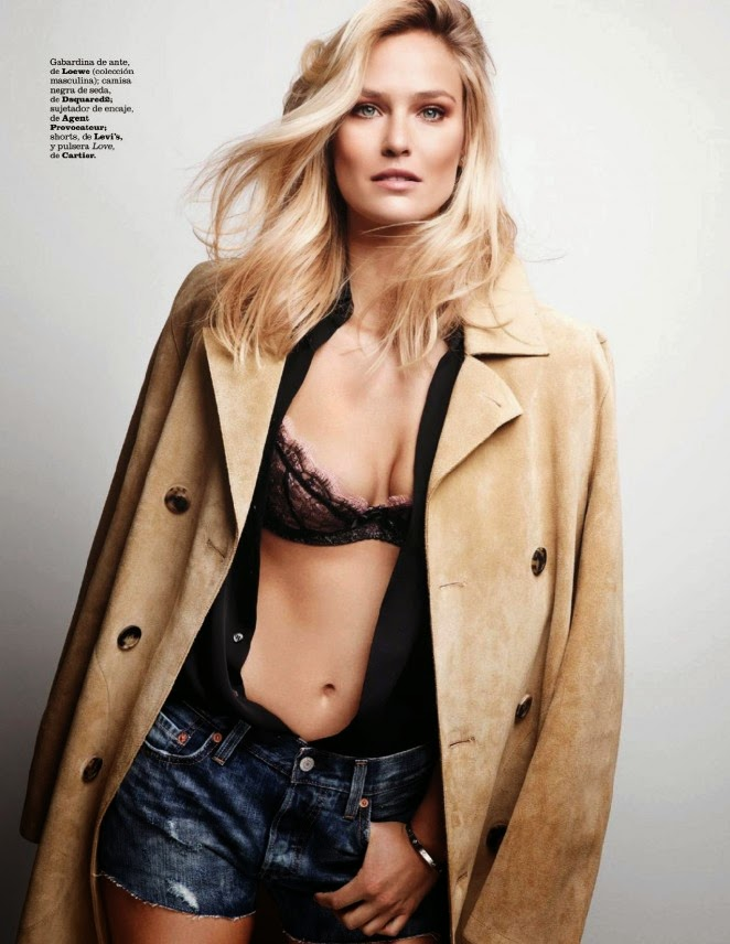 Bar Refaeli shows off lace bra for the cover of Marie Claire Spain January 2015