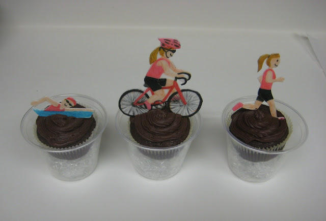 Triathlon Themed Teacher Appreciation Cupcakes - Swimming, Cycling, Running Set 2