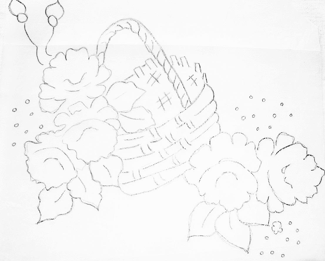 cesta de frutas desenhos para pintura em tecido pano de prato