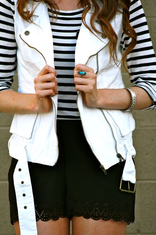Summer Style- Black and White Trend-Persona style blogger-Fashion-Piperlime shoes-White vest- forever21 shorts
