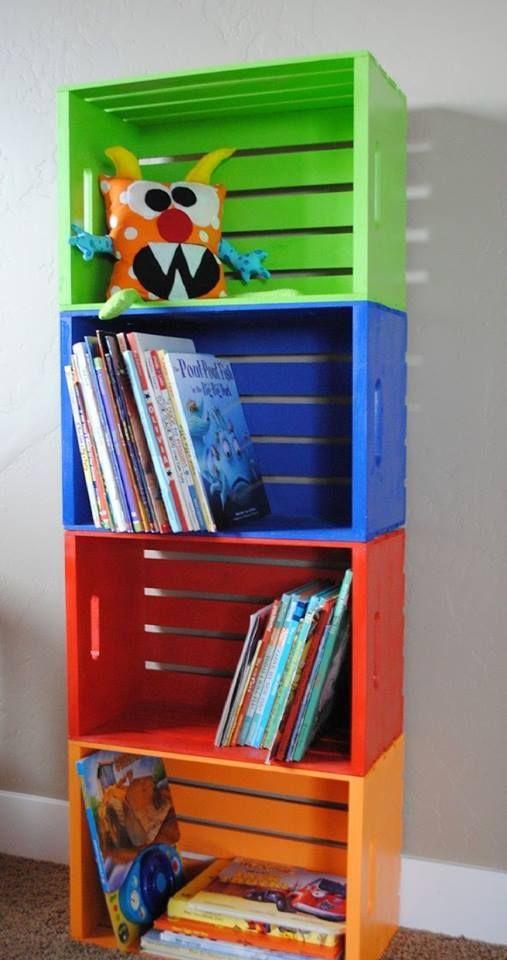 estanteria cajas madera