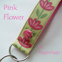 Pink floral wrist key fob or keyring, perfect teacher gift.