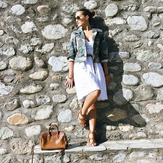 Jelena Zivanovic Instagram @lelazivanovic.Glam fab week.Outfit how to style camo army jacket.Kako stilizovati vojnicku jaknu?
