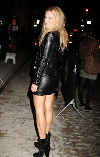 Bar Refaeli looking hot in leather mini dress