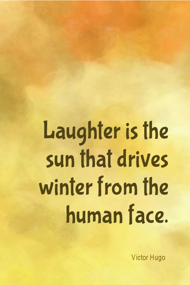 visual quote - image quotation for HAPPINESS - Laughter is the sun that drives winter from the human face. - Victor Hugo